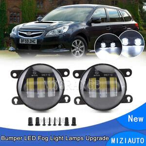 Pair LED Bumper Clear Fog Light Lamps For Subaru Impreza XV Crosstrek 2012-2015