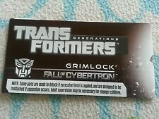 Transformers FALL OF CYBERTRON GRIMLOCK INSTRUCTION BOOKLET ONLY