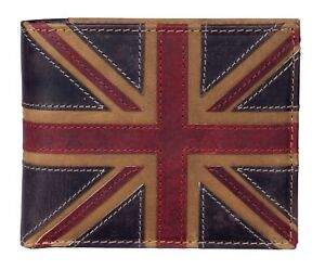 RFID Union Jack Luxury leather wallet brown Mala Leather with zipped coin pocket