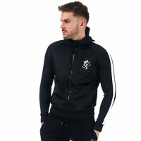 Mens Gym King Tapered Poly Tracksuit Top In Black White