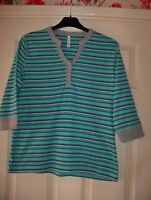 LADIES TOP MULTI STRIPED GREY COLLAR&CUFFS SIZE MED BY BM CASUAL GOOD CONDITION.