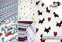Printed Brush / Brushed 100% Flannel Cotton, Christmas Print Design, 5 Designs.