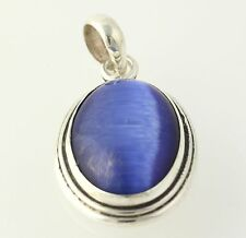 Simulated Cat's Eye Pendant - Sterling Silver 925 Women's Oval Blue Stone