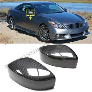 Real Carbon Fiber Side Mirror Cover Cap Trim For INFINITI G25 G37 Q60 2008-2014