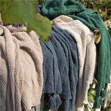 Blanket with Tassel Throw Blanket Bedroom Sofa Office Nap Warm Knitted Blanket