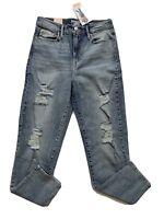 Levi's Denizen Women's Jeans Size 3 Distressed Mom Jean Faded Blue Stetch