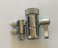 """Two way Faucet Adapter Diverter Valve for Water Filters purifiers 3/8"""" Tubing"""