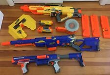 Nerf Gun Lot- 3 Guns & Accessories: Stampede ECS, Long Strike CS-6, Raider CS-35