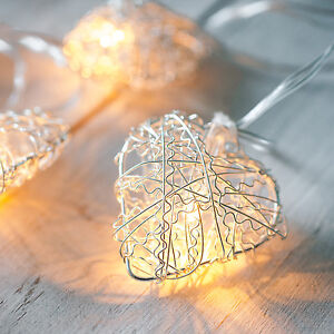 10 Silver Metal Heart Battery Operated Indoor Bedroom LED Fairy String Lights