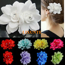 Lady Women's Big Flower Rhinestone Crystal Hair Pin Clip  Bridal Wedding Acc UK