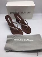 Manolo Blahnik Cork Snakeskin Wedge Thong Sandal Shoes NIB Size 41 10 / 11B
