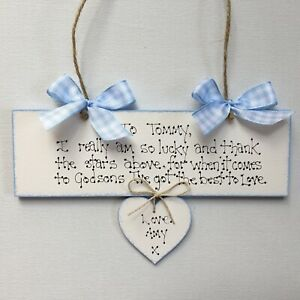 Personalised Godson Goddaughter Christening Day Gift New baby Plaque Sign Wooden