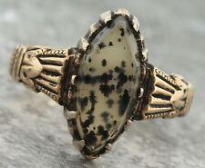 Ladies Antique Victorian 1880s Estate Agate Black 14K 585 Yellow Gold Ring