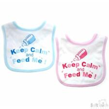 Soft Touch Baby Bib 'Keep Calm And Feed Me' 100% Cotton Pink Blue Velcro Closure