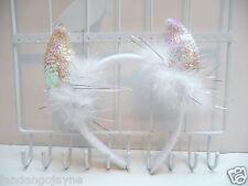 Devil horns white, pink pearlised sequins
