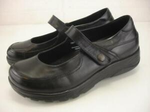 Women's 8.5 M Gravity Defyer Shoes Mary Jane Black Leather Comfort Wedge Slip-On