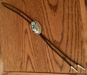 Southwestern Bolo Silver Tone Turquoise Decor Black Woven Cord