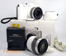 NIKON 1 V1 WHITE CAMERA BODY WITH 30-110 & 10-30 TWIN LENS KIT *EXCELLENT*