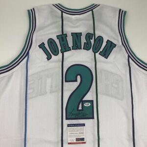Autographed/Signed LARRY JOHNSON Charlotte White Basketball Jersey PSA/DNA COA