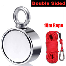 500kg Double Sided Silver Metal Neodymium Magnet Fishing Ring with 10M Rope Kit
