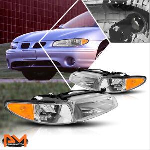 For 97-03 Pontiac Grand Prix OE Style Headlights/Lamps Chrome Housing Amber Side
