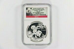 "2013 China Silver Proof Panda Medal ""World Money Fair"" NGC PF70 Ultra Cameo 1 oz"