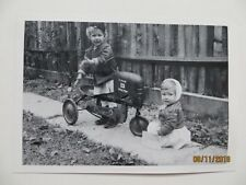 Vintage B&W Photo BMC Kiddie Tractor Peddle Car with kids
