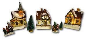 Weihnachtsstadt Weihnachtsdorf mit LED Beleuchtung Lichthäuser 3D Weihnachten