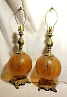 "Pair Vintage Amber Table Lamps Crackle Glass Ball  23""-31"" Tall"