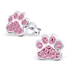 Paw Print Light Rose Pink Crystal .925 Sterling Silver Stud Post Earrings