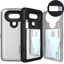 LG G6 Card Case, SKINU USB type C SILVER [Shockproof] [Dual Layer 3 Card Slot]