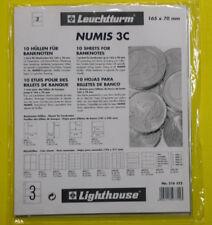 Leuchtturm Numis 3C 165x70mm, 10 Hüllen für Banknoten, 316522