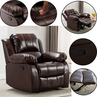 Recliner Chair Heavy Duty Frame Padded Sofa Lounge Couch Leather Home Furniture
