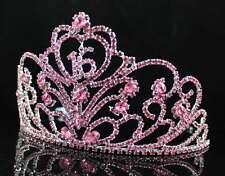 A89157 AUSTRIAN RHINESTONE CROWN TIARA HAIR COMBS SWEET SIXTEEN 16 BIRTHDAY PINK
