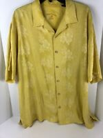 Tommy Bahama Mens XL Yellow Floral 100% Silk Button Front Casual Shirt EUC