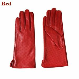 Women's Breathable Gloves Fashion Rayon Lining Leather Perforated Driving Mitten