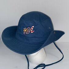 Montgomery Biscuits Aviator Bar Hat with Chin Strap & Snap Up Sides Rare HTF
