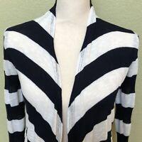 Birdcage Anthropologie Cardigan Size Medium Navy Blue White Stripe Sweater
