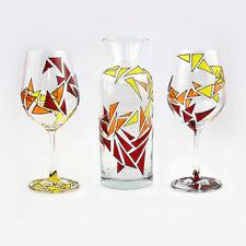 Set Of 2 Art Handmade Wine Glasses and Decanter Hand Painted Glass Gift UK