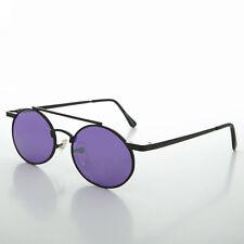 Ozzy Osbourn Steampunk Oval Vintage Glasses with Purple Lenses (Black)-HENDRIX