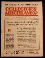 1930 Vintage COLECTORS MISCELLANY Magazine November 1 1930