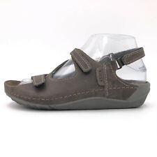 Wolky Leif Gray Leather Hook Loop Slingback Sandals Women's 5.5 - 6 / 36