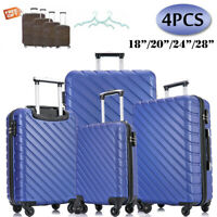 4 Piece ABS Luggage Set Hardside Spinner Lightweight Durable Suitcase Solid Blue