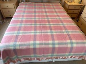 "Vtg Penney's Golden Dawn Multicolor Pink Plaid Wool Blanket Satin Trim 90 x 72"""