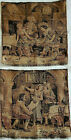 """Vintage French Tapestry Made In France Tavern Pub Scenes 18"""" X 18"""" Set Of 2"""