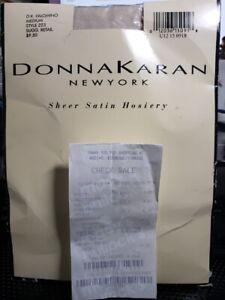 Vntg DONNA KARAN Sheer Satin Hosiery DK Ivory M Style 223  w/Sale Check of 1995