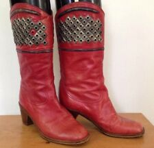 Vintage Francois Villon Paris Red Italian Leather Studded Cowgirl Boots 36.5 6