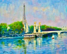 AskArt Listed Artist Nino Pippa Orig Painting Paris Eiffel Tower from rive Droit