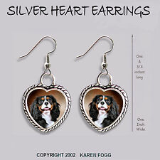 Cavalier King Charles Spaniel Tri Color - Heart Earrings Ornate Tibetan Silver