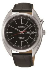 SKNP OS SMY119P2 Seiko Mens Gents Day Date Display Leather Strap Kinetic Watch